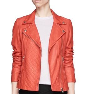 Maje Coral Pink Dobbie Quilted Leather Moto Jacket